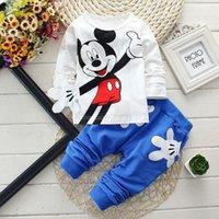 avatar cartoons - 2016 Baby Cartoon Clothing Set Cotton Clothes Kid Clothing With Mickey Avatar Set Blue Black RedPink Purple