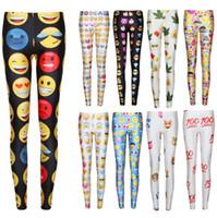 Wholesale 10 Color Emoji Print Leggings for Women D Fitness Tights Hot Sale European and American Skinny Leggings Emoji Pants