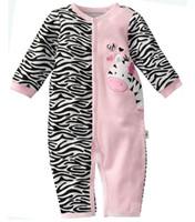 Venta al por mayor de primer Momentos menor 1pcs mamelucos cebra del bebé bebé de la muchacha de los pijamas de la ropa del bebé recién nacido ropa de noche de cuerpo se adapte de una sola pieza del mameluco