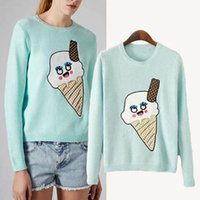 baby tricot - Baby Blue Cute Ice Cream Autumn Winter Sweater for College School Girl Sweet Tops Clothes Jumper Tricot Knitwear blusa body