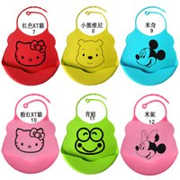 Wholesale New Silicone baby bibs Infant Feeding Baby Kid Bib hello kity Mickey Kid Washable Bib Fun Characters Waterproof cartoon image
