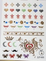 Wholesale 50pcs New Style Bling Hands Tattoos flash gold tattoo choker sticker nail tools arabic tattoo size cm