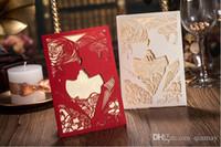 Wholesale 2016 Unique Red Hollow Wedding Invitation Card Romantic Groom Brides Laser Cut Wedding Invitations Free Envelope Blank Page