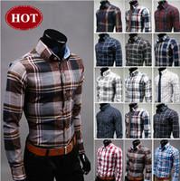 Wholesale 2015 Brand new Fashion Slim Fit Stylish shirt tripe Casual shirt dress Shirts Top quality color U6561