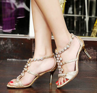 Wholesale 2015 sexy fashion folk style ladies sandals with Rhinestone sandals with a fine high heeled sandals