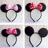 animals party supplies - High quality Girls mickey and minnie mouse ears headband Children headband kids birthday party supplies decorations minnie