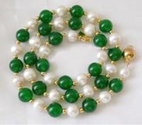 akoya natural pearl beads - 7 mm Natural White Akoya Pearl Green Jade Round Beads K GP Necklace quot