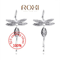 Wholesale 015 ROXI Sterling silver Fashion Jewelry Silver AAA CZ Modelling Dragonfly Beauty Drop Earrings Party Christmas Gifts3020051400