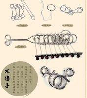 al por mayor juguetes chinos de la nueva llegada-[Nueva llegada] [Venta caliente] clásico clásico del rompecabezas del juguete clásico de la inteligencia del anillo del anillo seis pedazos fijó la creatividad que desarrollaba el juguete clásico sano