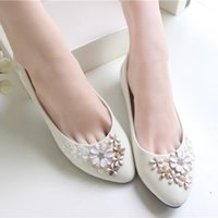 ballet height - Ivory Flower Wedding Shoes Lace Handmade Bridal Shoes Cheap Custom Made Heel Height Flat Women Shoes for Wedding Bridesmaid Shoes