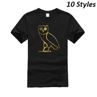 Wholesale 2016 Men s OVO Drake T shirt Tee Design Personalised Black T Shirts Short Sleeve Crew Neck Cotton Tees Jogger tshirt HOF0304