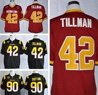 Camisetas de fútbol americano ASU 42 Pat Tillman 90 Will Sutton Arizona State Sun Devils Jersey de la universidad Inicio Negro Logotipo rojo cosido