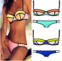 swimsuits - 2015 color set bottom top women Bandage bras swimsuit zipper bikini swimsuit swimwear neoprene push up padded bikini BBB2117