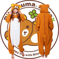 adult bear onesie - Cosplay Easy bear Pajamas Hooded Conjoined Sleepwear Costumes Adult Unisex Onesie Soft Sleepwear