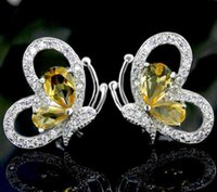 Cheap Fashion butterfly shape natural yellow crystal stud earrings 925 sterling silver natural citrine earring for women party jewelry