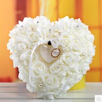 airline pillow - XT Discount The Ring Pillow White Heart shaped style Ring Box creative Wedding Table Decoration for Bride