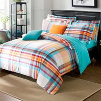 Wholesale Blue Orange Stripes Grid Pattern Duvet Cover Sanding Cotton Mens Bedding Set Trimmed Bed Sheet Sham Covers