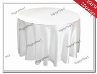 banquet tablecloths for sale - 108 Round Hot Sale Pieces Satin Table cloth for Wedding Banquet Round Tablecloth in white color to Russia
