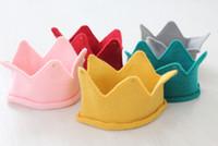 beanie babies birthday - Fashion Hot Baby Knit Crown Tiara Kids Infant Crochet Headband cap hat birthday party Photography props Beanie Bonnet