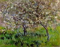 One Panel apple tree bloom - Landscape Art Apple Trees in Bloom at Giverny Claude Monet Painting Canvas Reproduction High quality Hand painted
