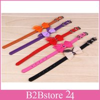 Wholesale PU Leather Pet Collars Adjustable Dog Puppy Necklace Mix Colors Knit Bowknot