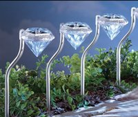 Wholesale 4pcs set Outdoor Diamond Solar Lights Power LED Lawn Garden Path Wall Fence Lamp