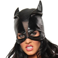 Wholesale Fashion Cosplay Cat Mask Sexy Lingerie Prom Club Party Black Faux Leather Panelled Halloween Masks Costumes