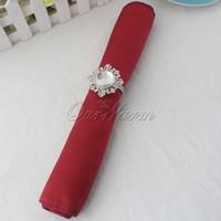 Wholesale Dark Deep Red Crimson Satin Table Dinner Napkin quot Square Men Handkerchief Multi Purpose Wedding Party