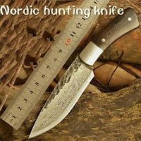 damascus knife - HUNTING KNIFE Hand Hammered Nordic Bowie outdoor knife pattern steel knife Damascus survival knife sharpknife collection process campping