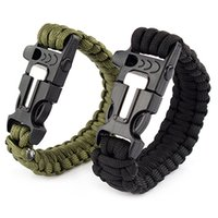 Wholesale Outdoor Survival Bracelet Kits Paracord Cord Wristbands Emergency Rope Gear Whistle Flint Fire Starter Scraper Black WNR