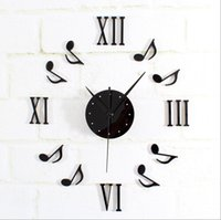 Wholesale Brief Fashion Black Red Color D Music Notes portfolio DIY wall clock creative fashion watches bell reversal