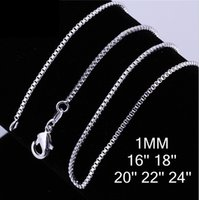 Wholesale 2016 hot sterling silver Box chain vintage necklace hot sale MM inch bulk