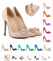 beige colored pumps - 2015 European and American classic heels of the latest fashion candy colored bow heels and patent leather stiletto heels