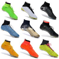 ankle socks black - 2015 Mercurial Superfly FG Soccer Shoes High Ankle Football Boots ACC Men Outdoor Superfly CR7 Cleats With Socks