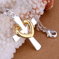 Wholesale 925 sterling silver fashion jewelry chains necklace sterling silver pendant Dichroic heart cross pendant