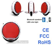 Wholesale CE FCC RoHS LED Color Light Bluetooth Speakers Red Electric Self balancing Unicycle Scooter
