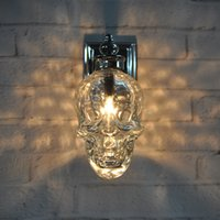 Wholesale Creative Skull Heads Wall Lamp Individuality Iron Art Wall Lamp European Style Bedside Bedroom Living Room Loft Iron Wall Light