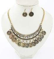 Wholesale Simple Silver Metal Spike Bead Coin Rhinestone Chain Bib Necklace Earrings Sets Jewelry Set