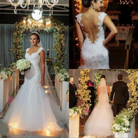 backup image - Sexy Mermaid Tulle Wedding Dresses Sweetheart Cap Sleeves Backless with Illusion Backup Appliques Floor Length Bridal Gowns BO7159