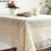 Wholesale White Crochet Lace Embroidery Tablecloth for Weddings Table Cloth Cover Rectangular manteles para mesa