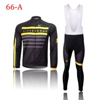 Wholesale Autumn and winter style LIVESTRONG long sleeve cycling jersey and long bib pants MTB clothing Sport Clothes XS XL