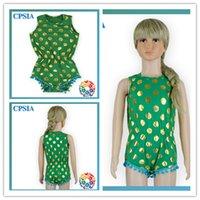 Cheap (02)12pcs lot DHL free Green Color Organic Cotton Baby Romper Girls Summer Cotton Pajamas Gold Polka Dot Fabric Baby Romper Wholesale