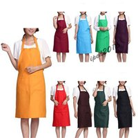 Wholesale 2016 Fashion Plain Apron with Front Pocket for Chefs Kitchen Cooking Craft UK Baking Home Cleaning Tool Accessoriesz Or Retail