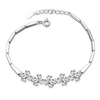real silver jewelry - Real Sterling Silver Elegant Women Leaf Clover Flower Chain Link Bracelets Fashion Jewelry Factory Price
