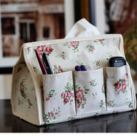 Wholesale Flower Printing Tissue Box Waterproof Fabric Art Cloth Tissue Extraction Storage Box