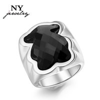 Wholesale Large Crystal Silver Rings - New black bear rings for women silver & gold plated stainless steel big large crystal stone jewelry