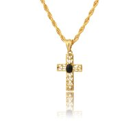 christian - cross Pendant Necklace Women Men GiftNew Trendy K Real Gold Platinum Plated Christian Necklaces Jewelry
