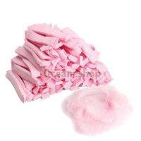 bathing dust - 100PCS Disposable Hair Shower Caps Non Woven Pleated Bathing Cap Anti Dust Shower Caps Hat Set Pink BHU2