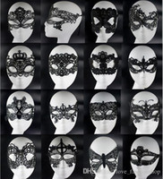 Wholesale Christmas Party Face Mask - 20pcs Sexy Lovely Lace Halloween masquerade masks Party Masks Venetian Party Half Face Mask For Christmas