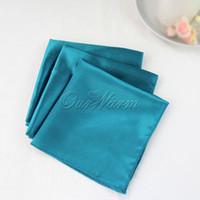 Wholesale 100 Teal Blue Satin Table Dinner Napkin quot Square Men Pocket Handkerchief Multi Purpose Wedding Decoration